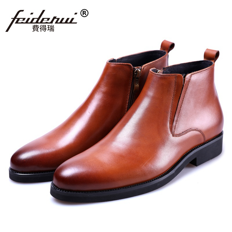 New Arrival Designer Man High-Top Riding Shoes Formal Dress Genuine Leather Round Toe Men's Martin Cowboy Ankle BootsJS227 2016 new arrival fashion real genuine leather formal designer brand man flat heels round toe men s elastic casual shoes glm1240 page 6