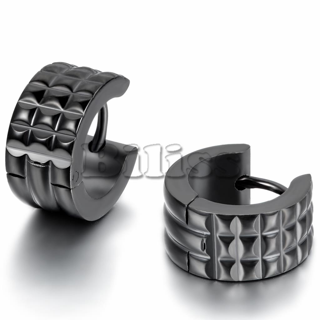 Punk Mens 316l Stainless Steel Hoop Huggie Earrings Classic Charm Men  Jewelry Black Color 7mm Width