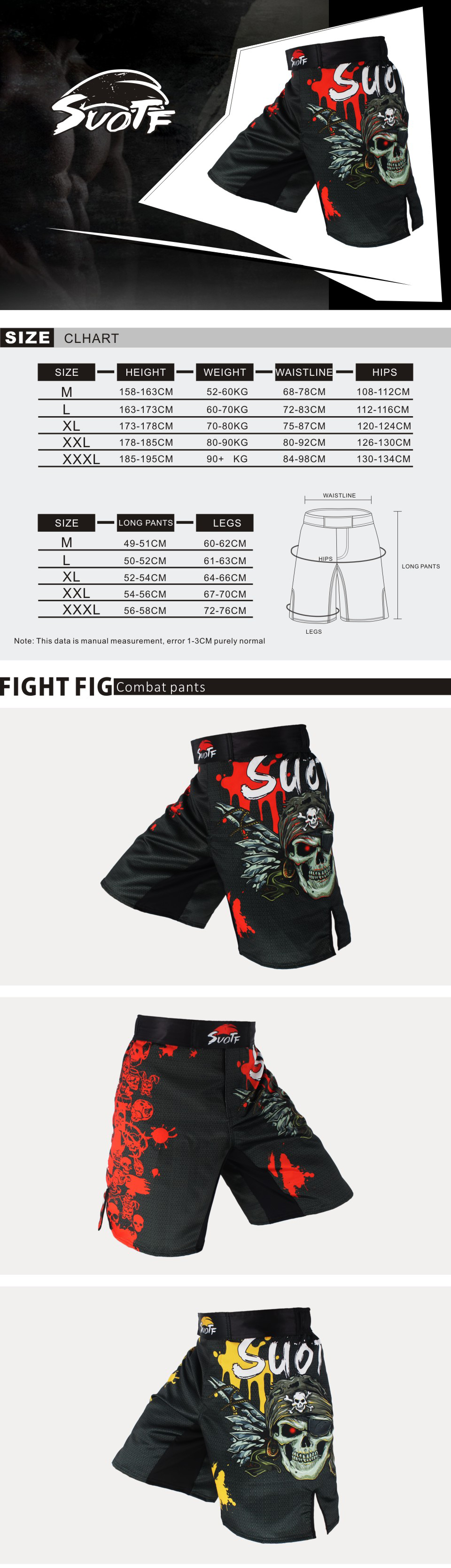 SUOTF Skull Printing breathable ferocious sports fitness shorts Tiger Muay Thai boxing shorts cheap mma shorts fight mma pants
