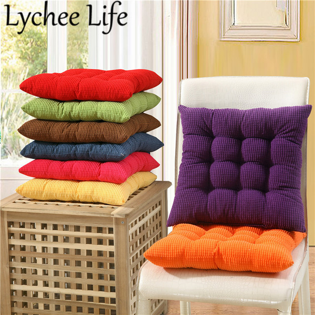 Lychee Life Square Plaid Cushion Bright Color Student Office Seat Cushions Modern Room School Chairs Home