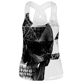 Women Tank Top Skull 3D Print O-neck Hollow Out White or Black