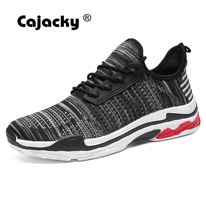 Cajacky Brand Summer Men Shoes Fashion Casual Shoes Breathable Trainers Fly Weave Sneakers Men Lace Up Flat Shoes Male Krasovki