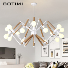 BOTIMI Adjustable Lustre LED Chandelier For Living Room Wood Hanging Lights Lustres para sala de jantar Dining Lighting Fixtures brown modern led chandelier for living room bedroom chandelier lighting luminaria lustre lampadario lustres para sala de jantar