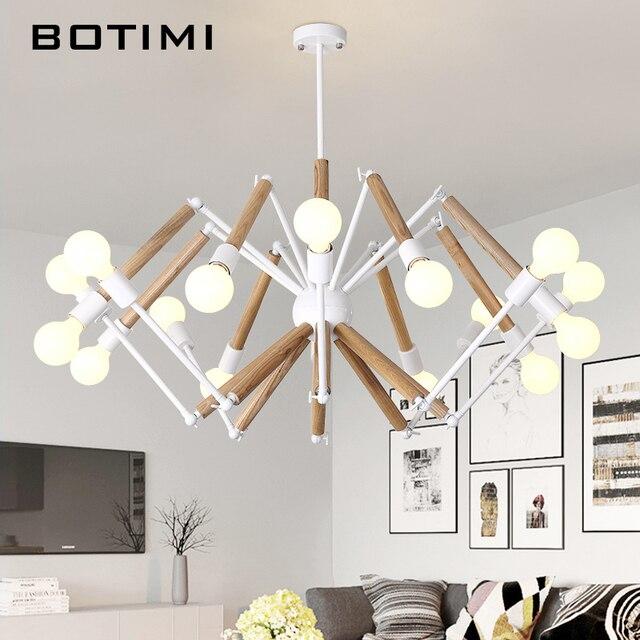 BOTIMI Adjustable Lustre LED Chandelier For Living Room Wood Hanging ...