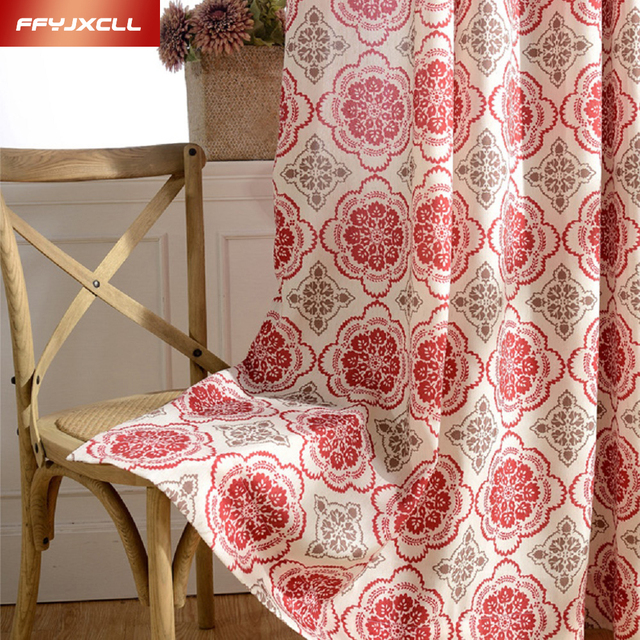Classic Printed Red Yellow Flower Window Blackout Curtains for ...