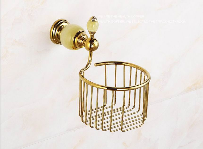 Free Shipping Golden Brass Finished Bathroom Accessories Jade Toilet Paper Holder Rack Tissue Baskets Wall Mount