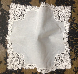 Novelty Womens Handkerchiefs 12PCS/Lot12x12Ivory Cotton Wedding Handkerchief Embroidered Ivory Lace Edge Hankies For Occasions