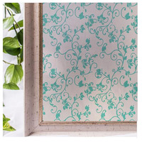 90 100cm Stained Opaque Embossed Green Vine Flower Frosted Window Films Heat Transfer Vinyl Self Adhesive