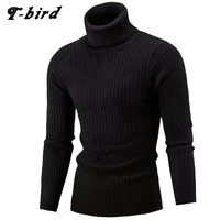 Sweater Men 2016 Brand Pullovers Casual Sweater Male High Collar Solid Simple Slim Fit Knitting Mens