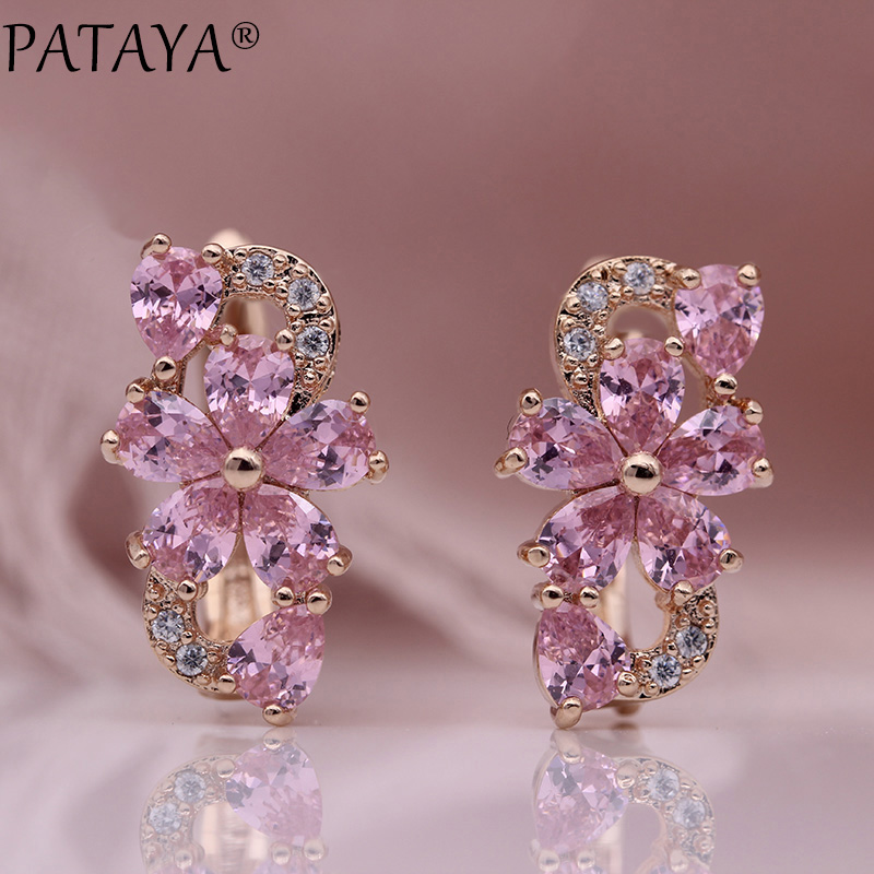 HTB1bBU5Kf1TBuNjy0Fjq6yjyXXab - PATAYA New Water Drop Plum Blossom Dangle Earrings Women Fashion Trendy Jewelry 585 Rose Gold Petal Natural Zircon Blue Earrings