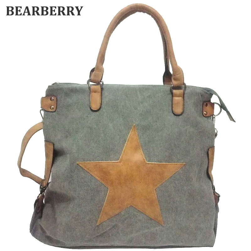 BEARBERRY BIG STAR VINTAGE CANVAS SHOULDER BAGS 2017  Multifunctional Travel Shopping bag Plus Size  Tote Handbag beach bags bearberry 2017 big straw bags handmade woven tote women travel handbags vintage shopping bags large beach handbags mn616