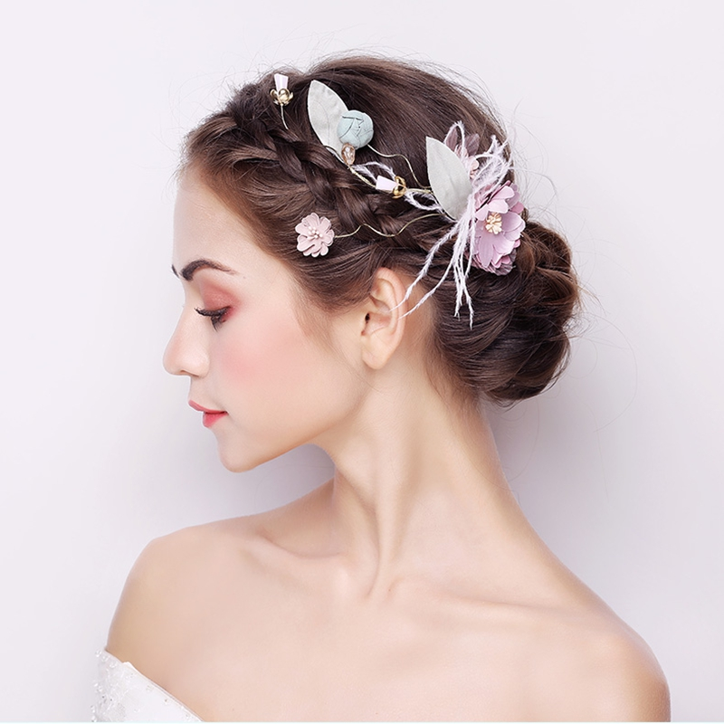 Bridal Headwear Sweet Side Clips Wedding New Yarn Flowers Pink Handmade Hair Accessories Bridemaids Feather Hairbands Jewelry цена 2017