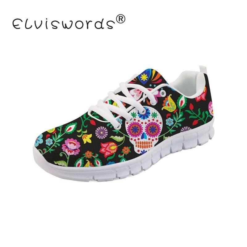 ELIVISWORDS sucre crâne Calavera impression chaussures vulcanisées pour femmes dames Cool mignon baskets classique à lacets plat livraison directe