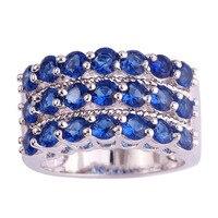 lingmei Wholesale Fashion Jewelry Round Cut Sapphire Quartz 925 Silver Ring Size 7 8 9 10 Chic For Women Men Rings Free Shipping