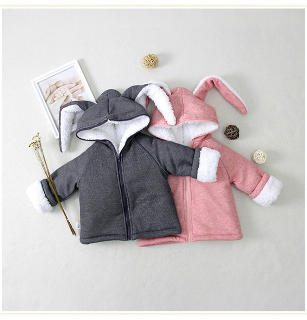 Baby Outerwear Boys Warm Coat Baby Girls Winter Jacket Kids 2017 New Cute Long Ears Top Clothes Both sides wear hooded clothing
