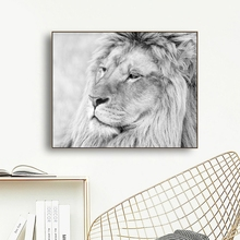 Laeacco Canvas Cartoon Painting Calligraphy Lion Posters and Prints Wild Animal Wall Art Pictures for Living Room Home Decor