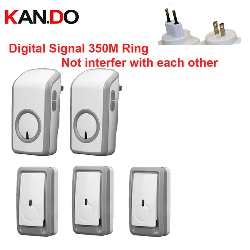 high quality bell kits w/ 3 emitters+2 receiver wireless doorbell Waterproof 380 Meter door chime door ring digital signal ring  new high quality wireless waterproof door bell 36 music melody 300m doorbell 3 transmitters 3 receiver home doorbells