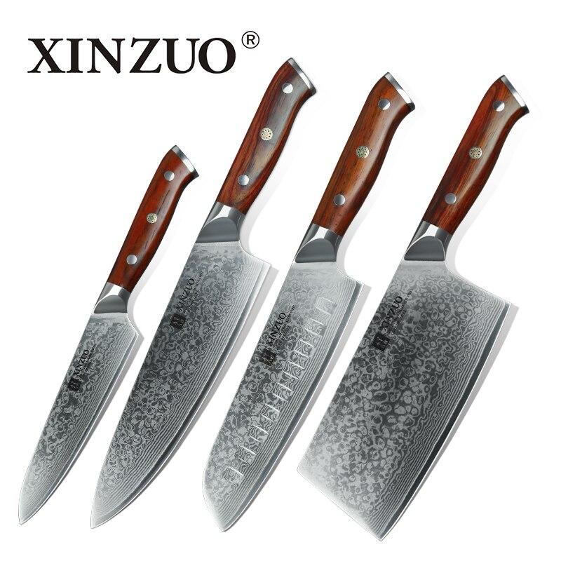 XINZUO 4 pz Set di Coltelli Da Cucina In Acciaio di Damasco Coltelli Da Cucina Set In Acciaio Inox Chef Utility Multitool Coltello con Manico In Palissandro