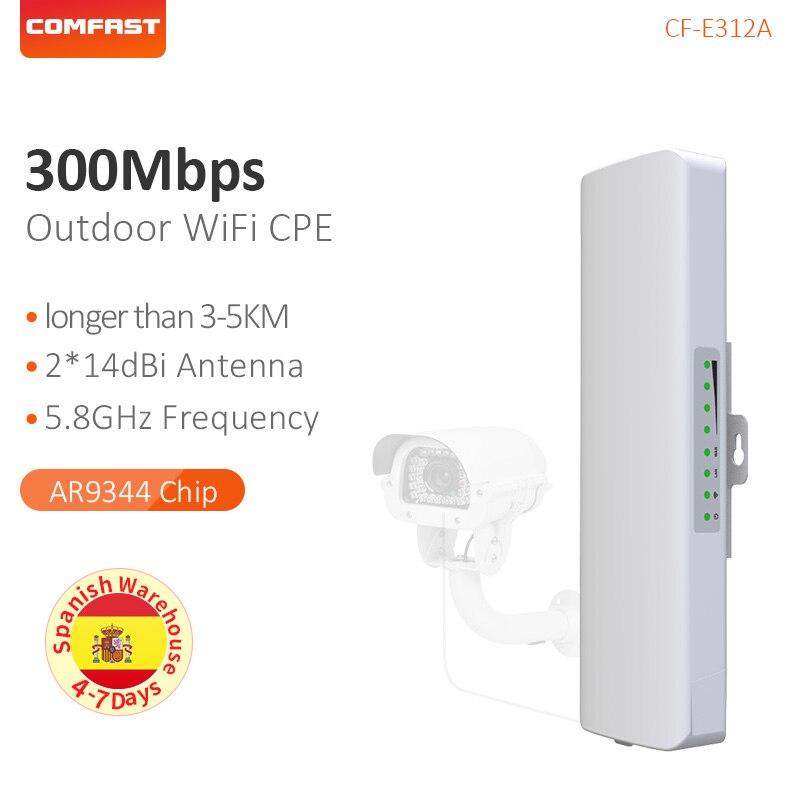 Comfast 5.8G booster de signal wifi Amplificateur 3-5 km point d'accès sans fil Pont Longue Portée CPE Extérieure répéteur wi-fi Extender CF-E312AV2