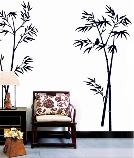 Black tree wall stickers decorative plants vinyls decals for Black tree mural