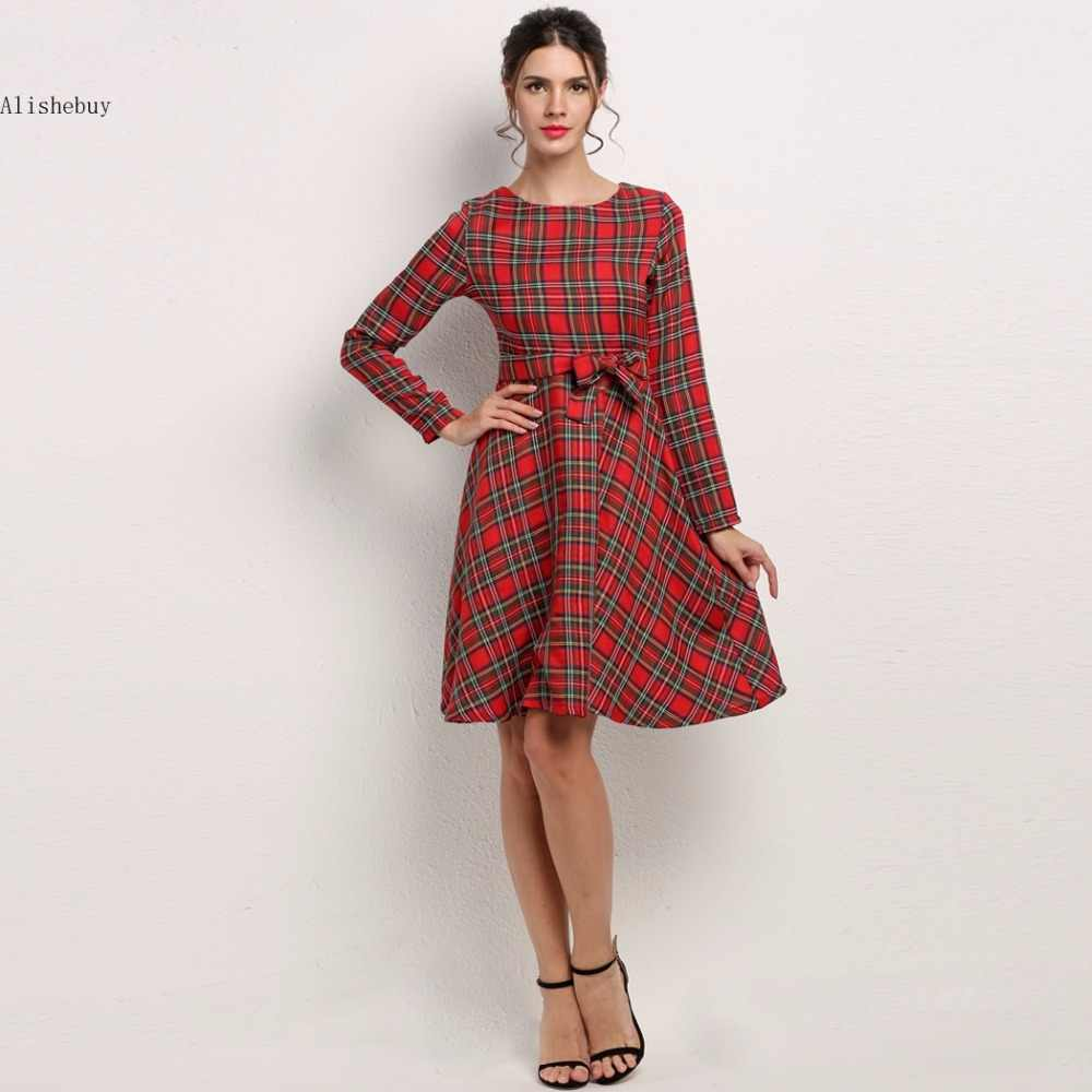 Women Shirt Dress Fashion Autumn Pleated A-line Plaid Dress long Sleeve  Hight Waist Dress 87514a88f