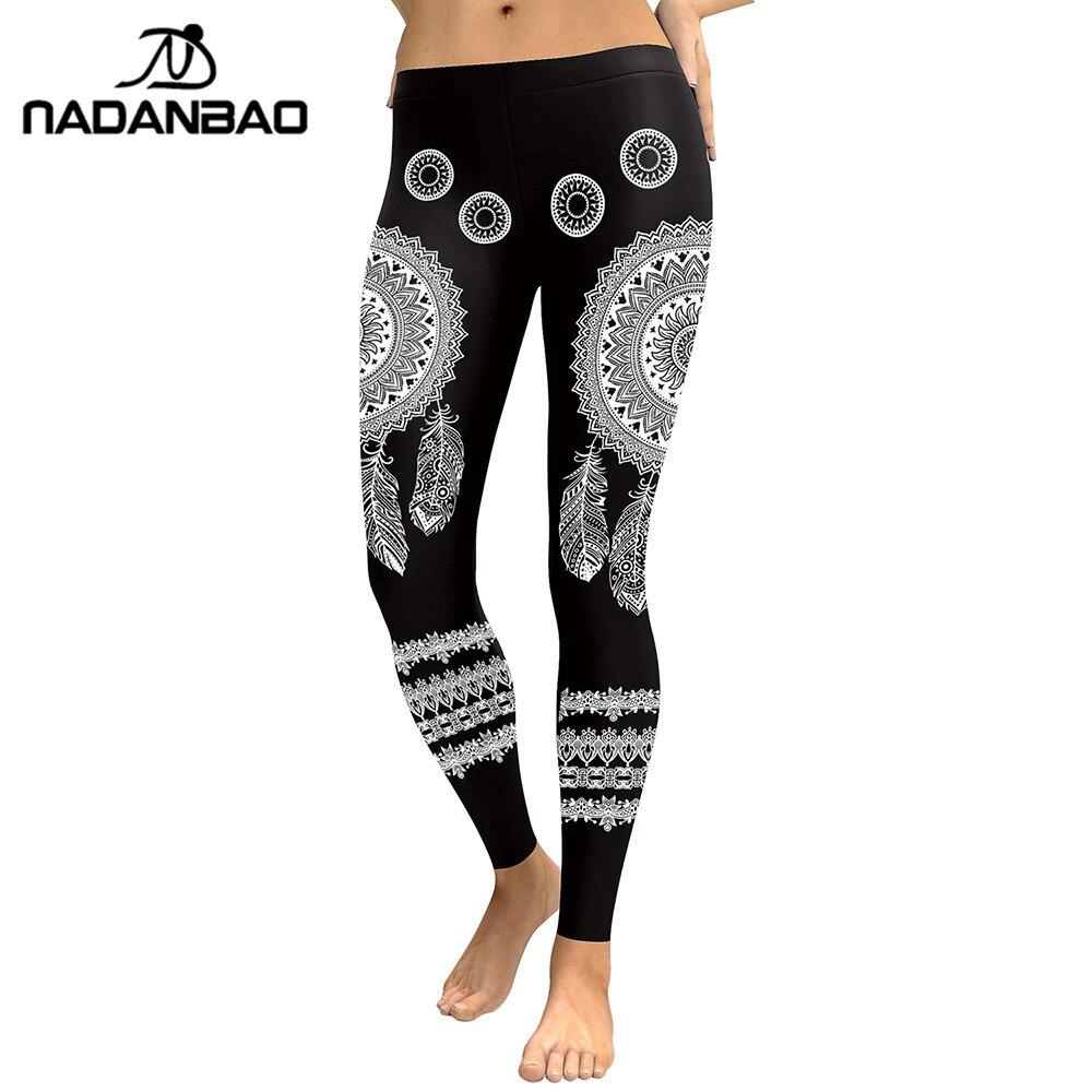 NADANBAO New Arrival 2019 Leggings Women Mandala Flower Digital Print Fitness Leggins Elastic Workout Plus Size Pant Legging