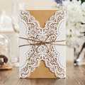 1 Design Laser Cut White elegant Pattern West Cowboy Style Vintage Wedding invitations Card Kit Blank Paper Printing Invitation