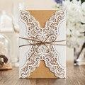 1 diseño láser corte blanco elegante patrón West Cowboy Estilo Vintage Boda Invitaciones tarjeta Kit papel blanco impresión invitación
