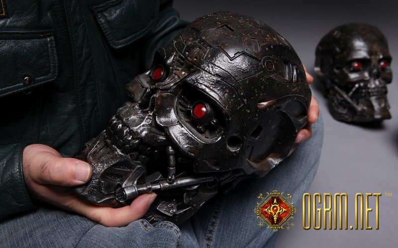 OGRM 1:1 T-600 Terminator Skull Model T600 LED Light Eyes Storage Box Collection T800 Terminator 5 Genisys Skeleton Figure gmasking terminator 2 t800 endoskeleton skull head statue scale 1 2 replica