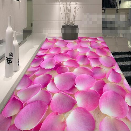 ФОТО Vinyl flooring Sticker 3D floor Mural Painting Bathroom Murals Romantic Pink Petals Non-slip Self-adhesive PVC Wallpaper Roll