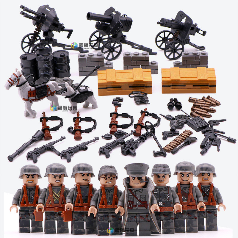 4 in 1 German Army World War 2 Military Soldier SWAT Gun Weapon Navy seals team Building Blocks Figures Boys Gift Toys Children xinlexin 317p 4in1 military boys blocks soldier war weapon cannon dog bricks building blocks sets swat classic toys for children