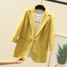 2019 summer 7-point sleeve linen women blazers and jackets small suit casual slim cotton white/pink/yellow/black small suit coat