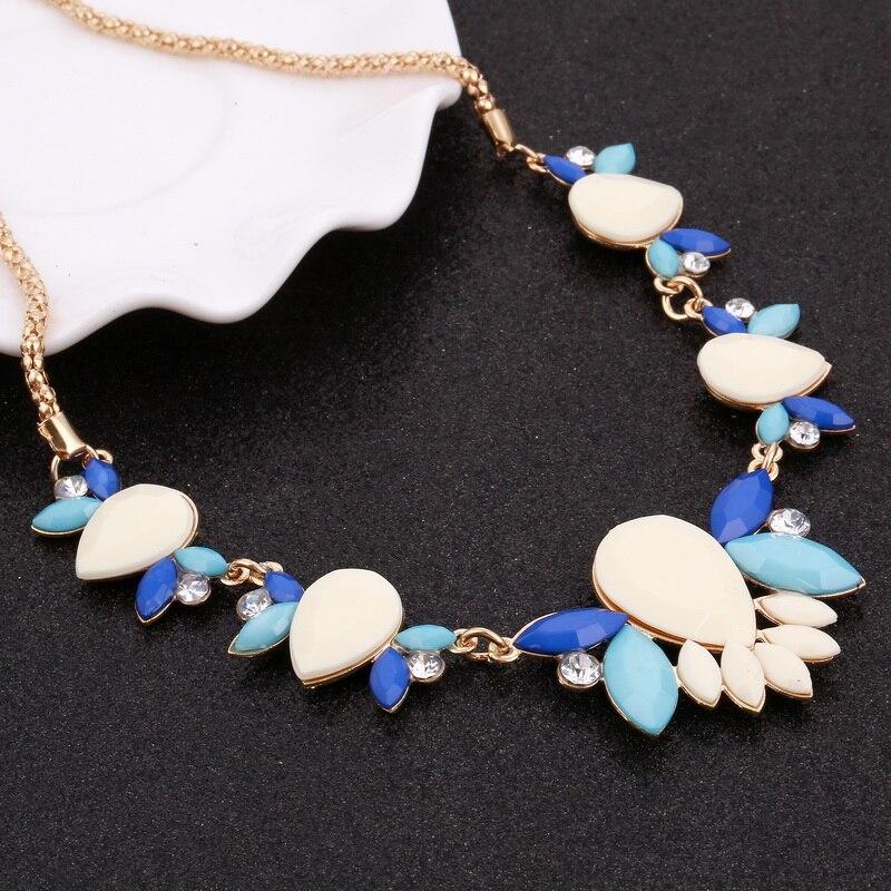Zoshi venta caliente marca moda crystal collares de flores colgantes chunky gran