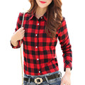 2017 Hot Sale Women Shirts tops new 100% Cotton Plaid Shirt Fashion Female Student Women's Long-sleeve Plus Size Basic Blouses
