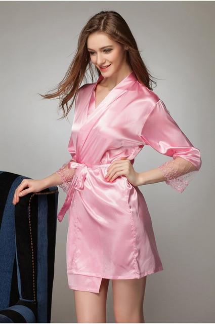 9475f08665 Sexy Women s Plus Size Silk Warm Wedding Satin Robe Lace Sheer Lingerie  Dress Nightgown Bathrobe Kimono Silk Gowns 2015 Women