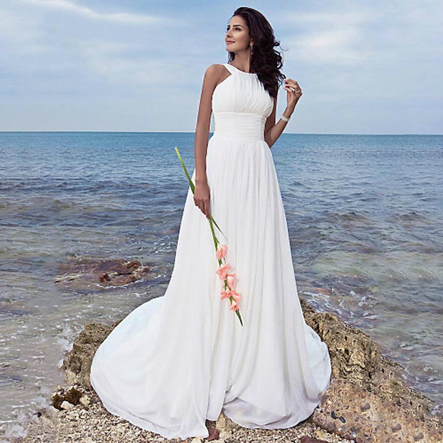 Vestido De Novia 2019 Pleated Beach Cheap Wedding Dresses