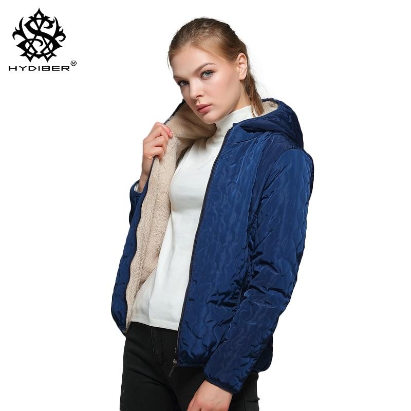 Long Sleeve Diamonds Partern Artificial Fleece inside Hooded Short Winter Coats Women parka Autumn outwear Tops Jackets