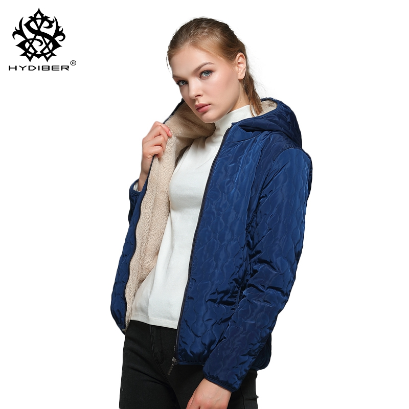 hydiber Long Sleeve Diamonds Partern Artificial Fleece inside Hooded Short Winter Coats Women Autumn outwear Girls