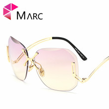 MARC UV400 WOMEN MEN sunglasses Gradient Rimless Pink Alloy Purple ACResin