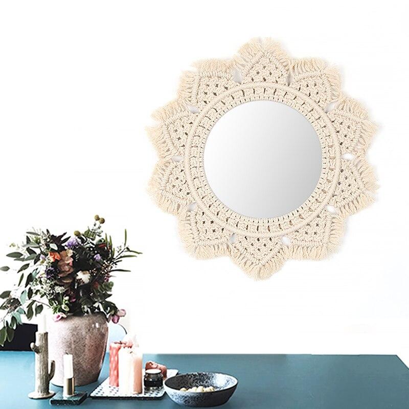 Бохо макраме ручной работы простой дом повесить гостиной настенные украшения декоративные зеркальные настенные гобелены