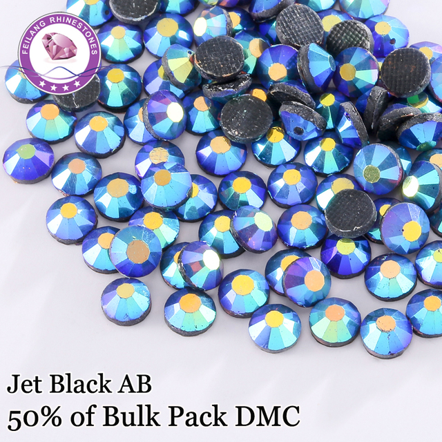 New Arrival Promotion SS6 - SS30 Jet Black AB DMC Hotfix Rhinestones For Clothing Accessories DIY Decoration Iron On Stones