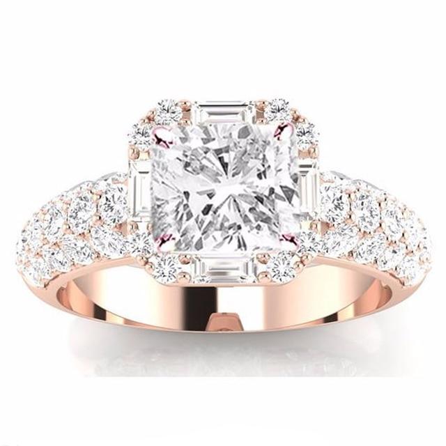 Роскошные Лаборатория Grown Алмаз 9 К Розовое Золото Обручальное Кольцо Бриллиант 1.5CT Подушка Cut Moissanites Обручальное Кольцо Изящных Ювелирных Изделий