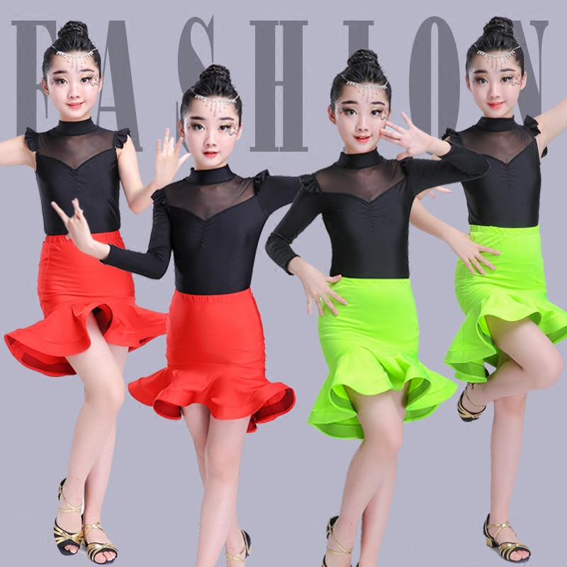 Girls Latin Dancewear Costume Kids Modern Latin Sexy Ballroom Practice Dancing Dress Waltz/tango / Cha Cha Dance Costume