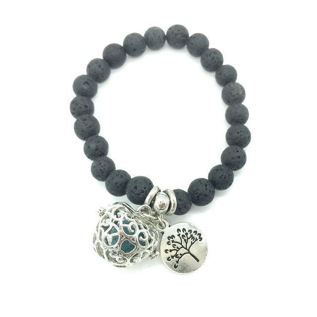 Simple Style Black Lava Beads with Small Charm and Openable DIY Locket Pendant E