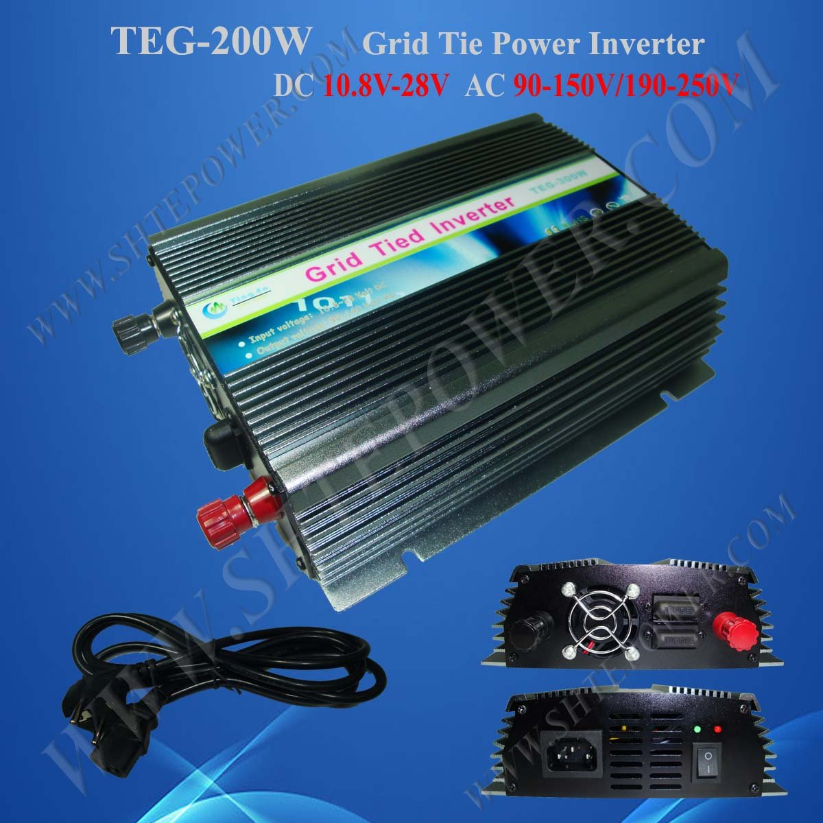 200W Power Inverter for Solar Panel On Grid System, DC 10.8V-28V to AC 90V-150V, One Year Warranty, High Quality china manufacture sell 300w 12v to 115v car use inverter maili brand one year warranty