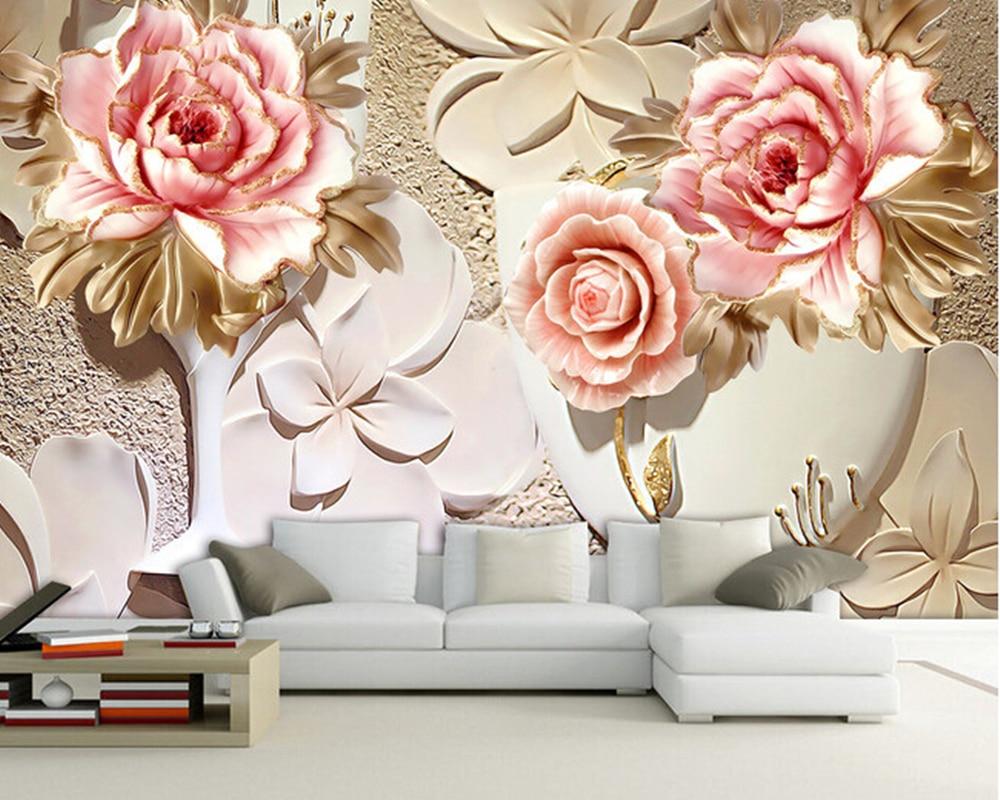 Custom papel de parede 3 d flower murals for the living for Hd designs home decor
