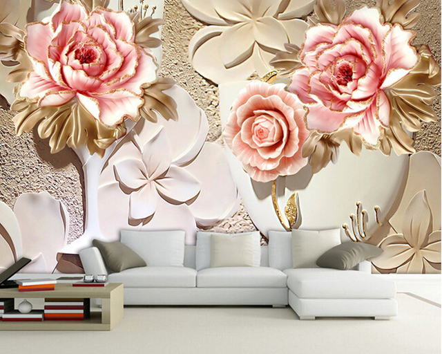 D Living De custom papel de parede 3 d flower murals for the living room bedroom