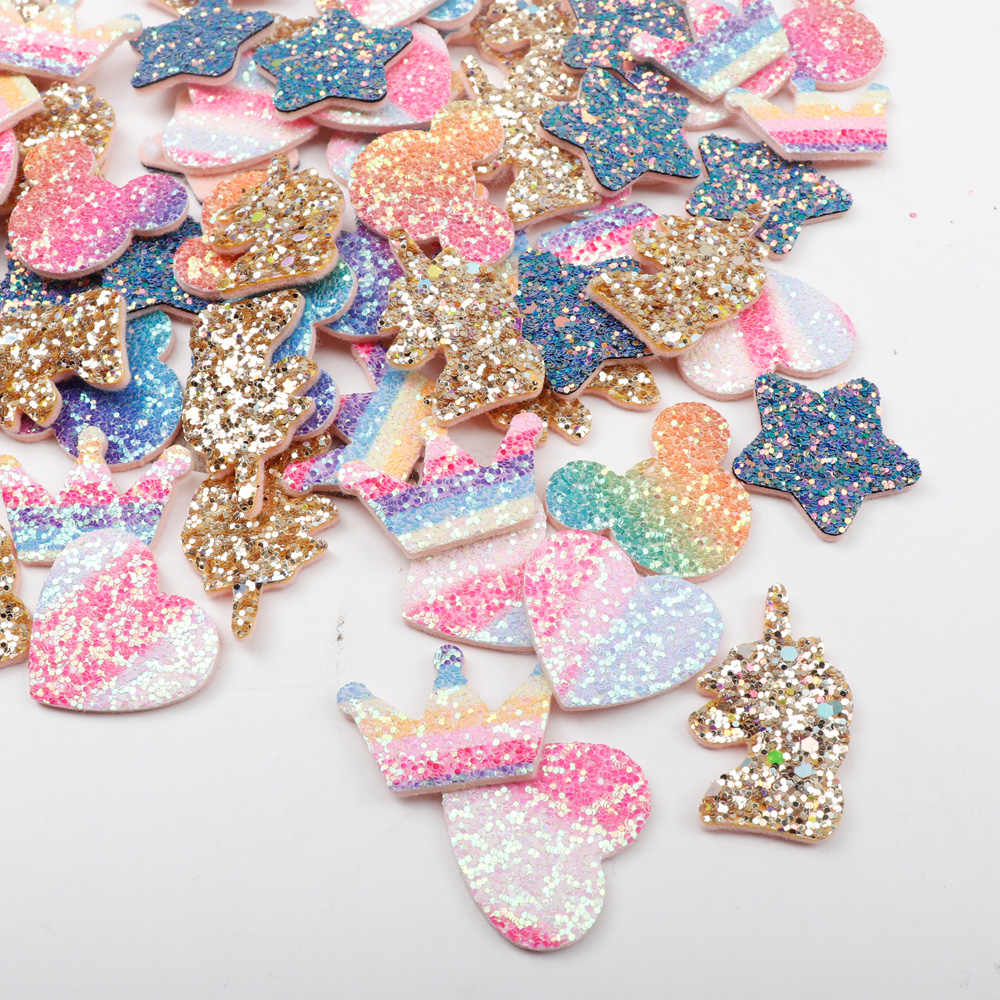 Regenboog Glitter Sequin Patches Voor Kleding Crown Hart Cartoon Naaien Doek Patches Kledingstuk Decoratieve DIY Hairbow Accessoires