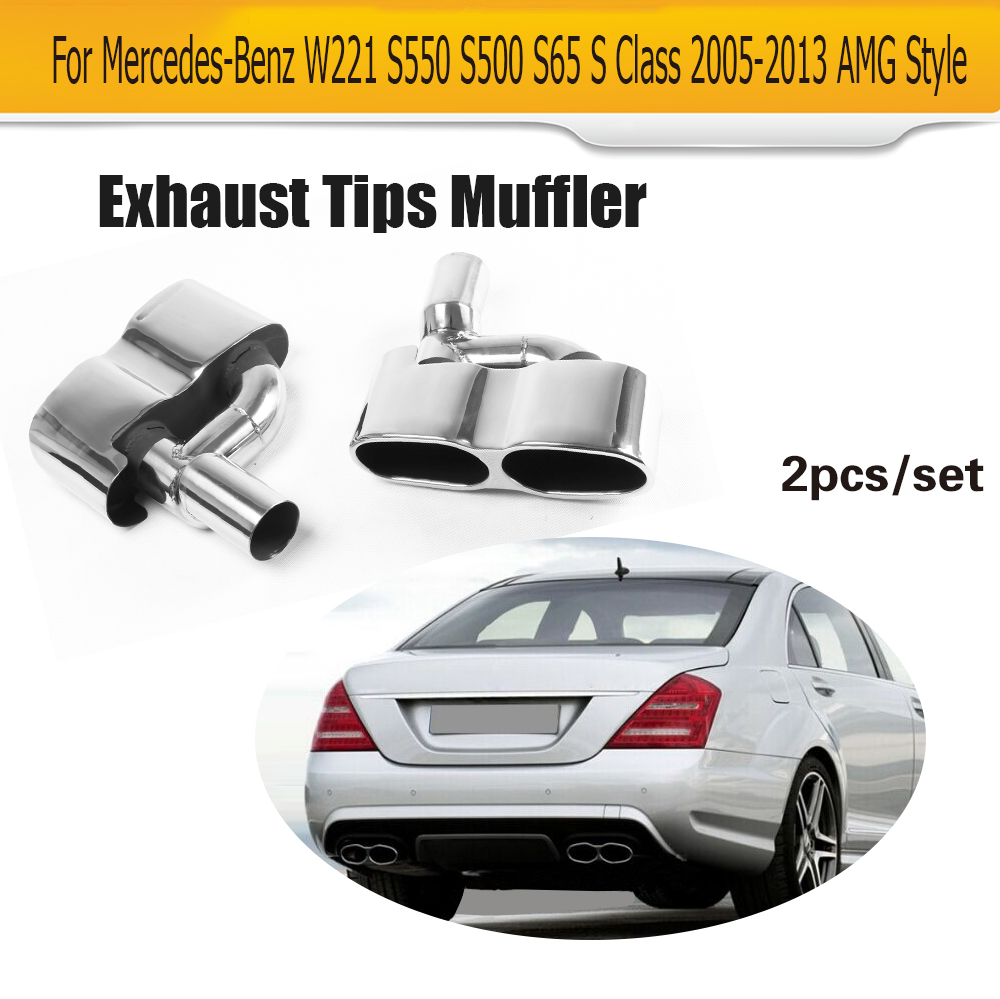 Fits Mercedes-Benz S-Class AMG Style S500 S550 Exhaust Pipe//Tip Muffler Mirror