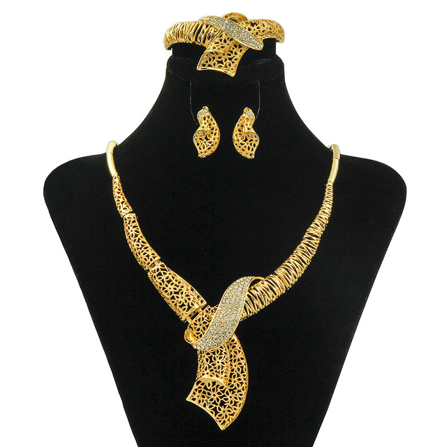 YIWU CZ Italian Ladies Long Design Crystal Necklace Jewelry Set Dubai Bride  Wedding Fashion Gold Accessories Free Shipping 43110e475c3b